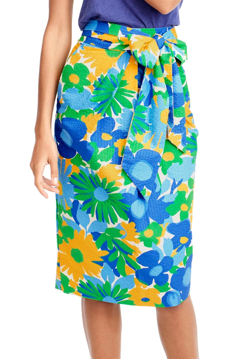 J.CREW Morning Floral Tie Waist Skirt, Main, color, 300