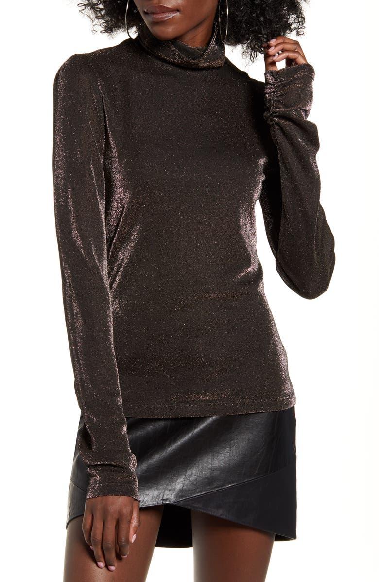 WAYF Dustin Sparkle Knit Mock Neck Top, Main, color, BLACK/ GOLD LUREX