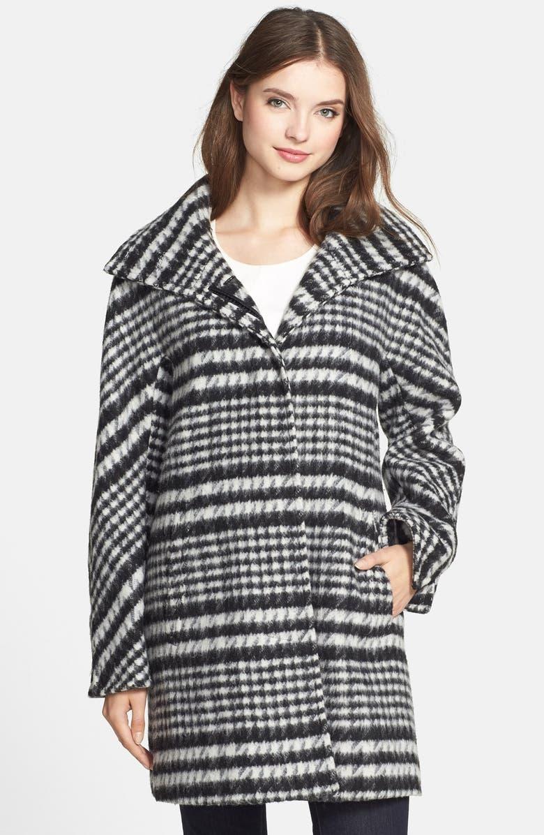 ELLEN TRACY Houndstooth Pattern Wool Blend Coat, Main, color, 011