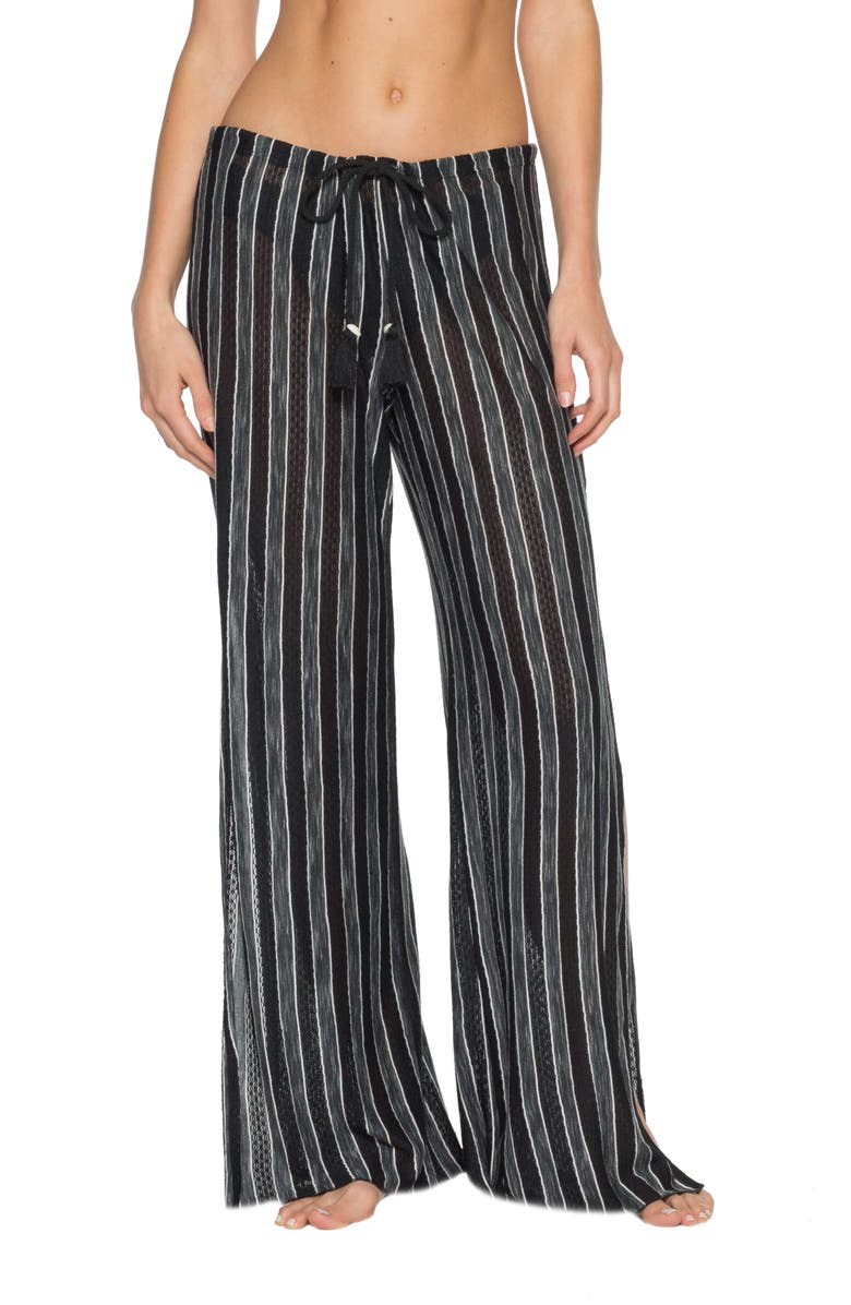 BECCA Beach Stripe Cover-Up Pants, Main, color, BLK