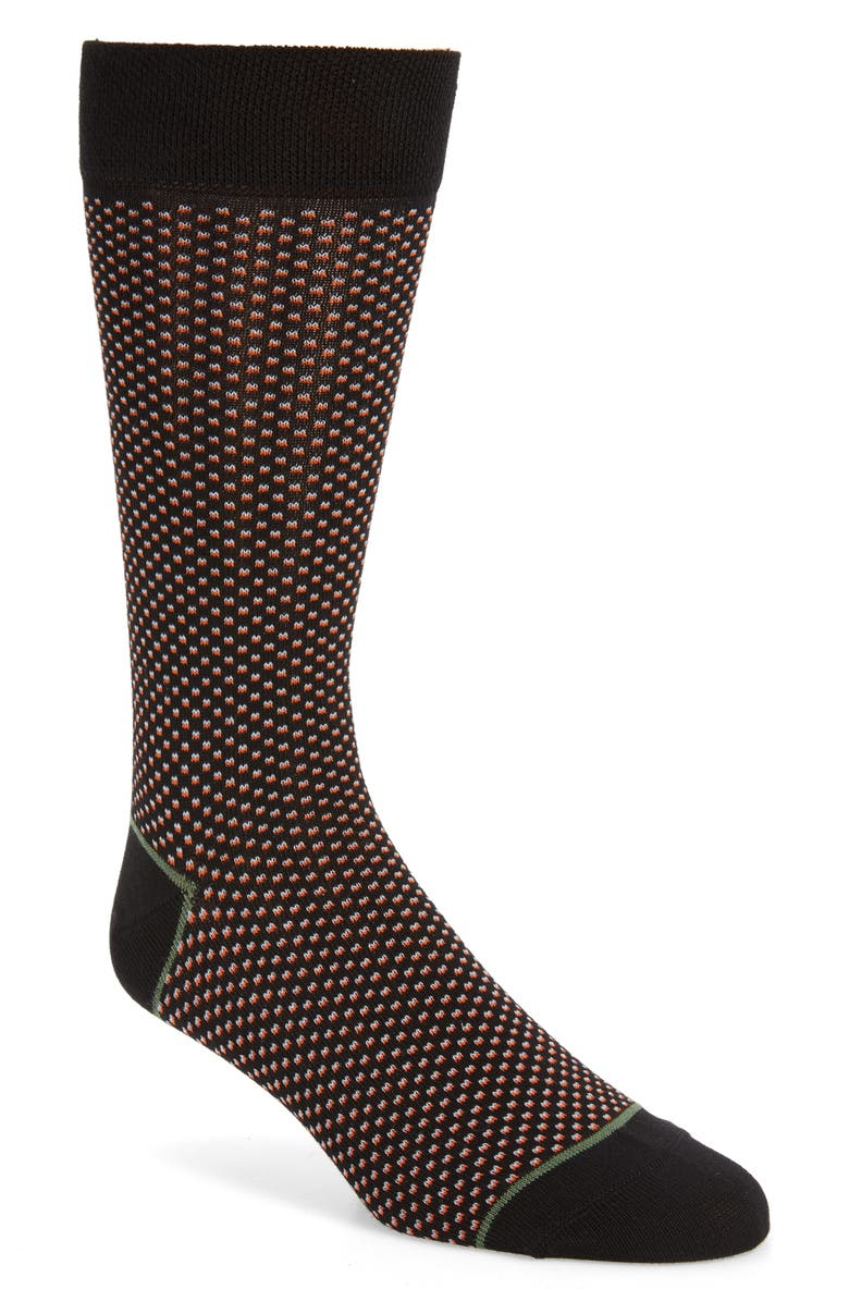 TED BAKER LONDON Spotted Socks, Main, color, BLACK