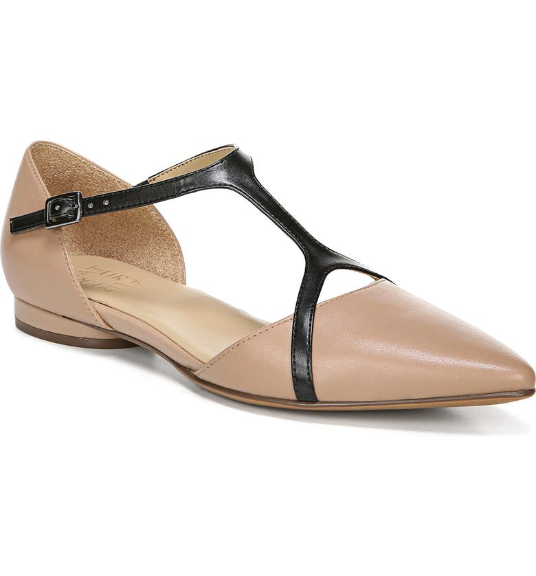 NATURALIZER Hana Pointy Toe Flat, Main, color, GINGERSNAP AND BLACK LEATHER