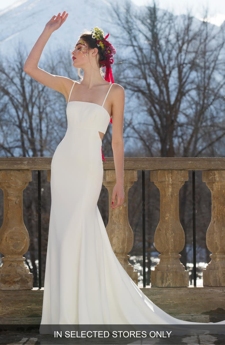 WILLOWBY Anemone Cutout Back Gown, Main, color, IVORY
