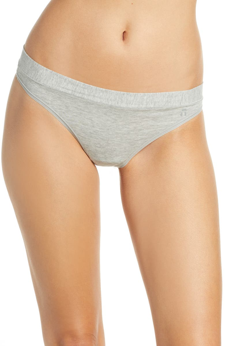 TOMMY JOHN Cool Cotton Thong, Main, color, HEATHER GREY