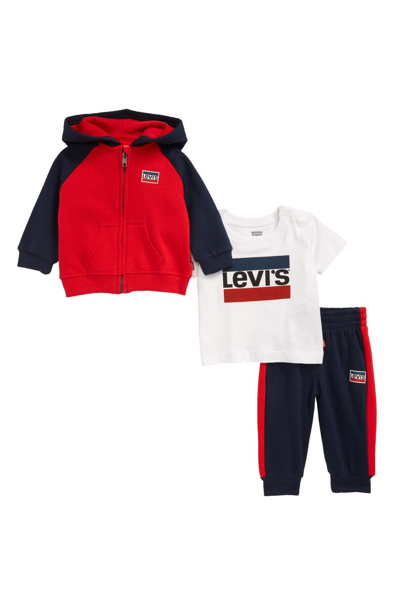 LEVI'S<SUP>®</SUP> Logo Hoodie, T-Shirt & Pants Set, Main, color, SUPER RED