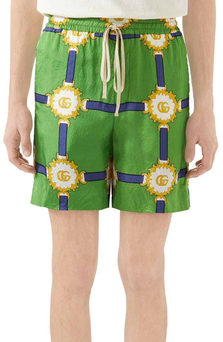 GUCCI GG Harness Print Shorts, Main, color, SHAMROCK/BLUE PRINT