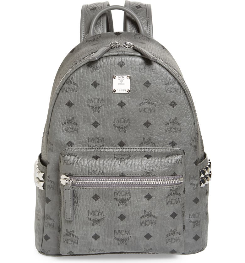MCM Small Stark Side Stud Backpack, Main, color, PHANTOM GREY