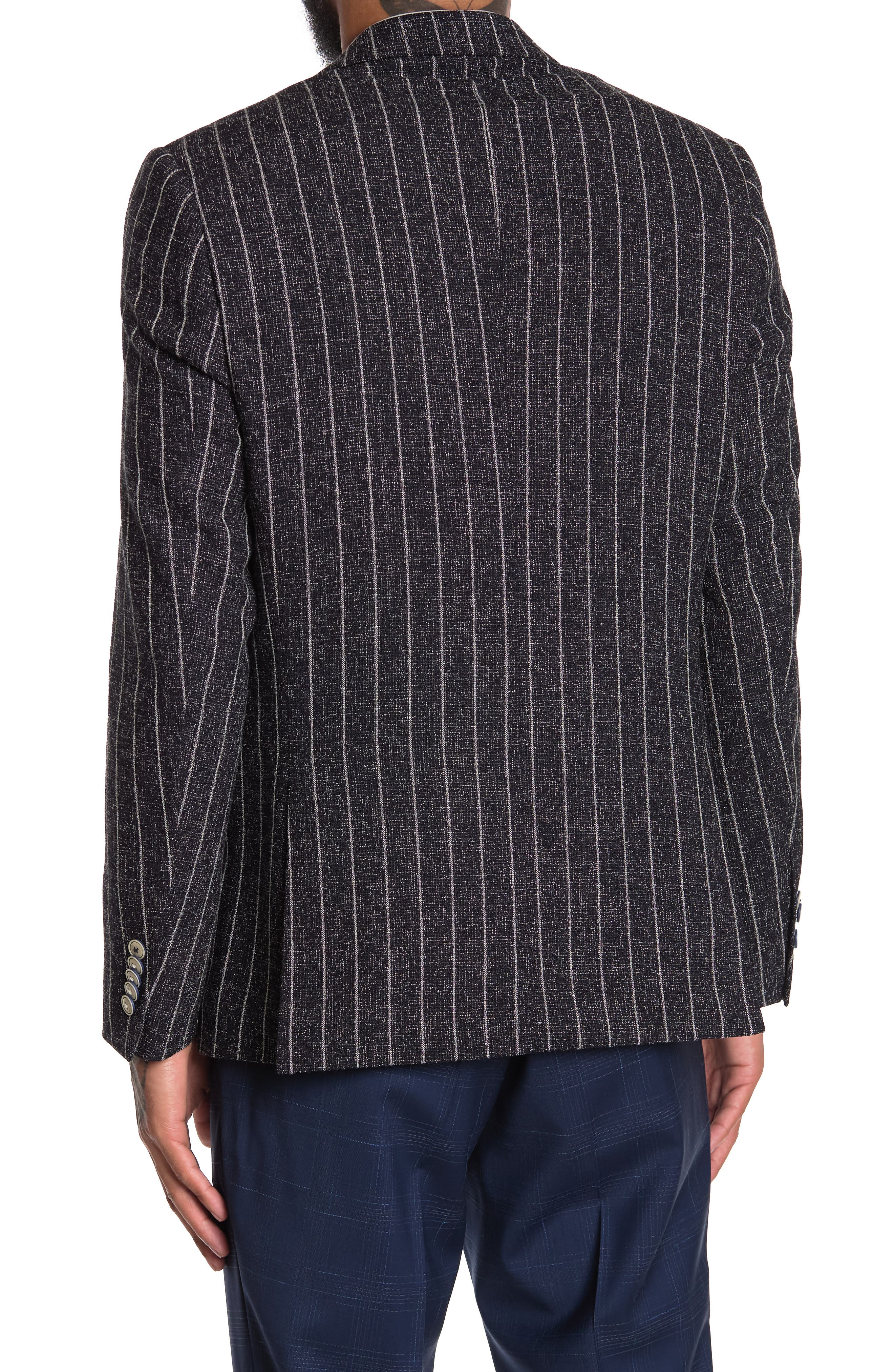 Image of SOUL OF LONDON Navy Chalk Stripe Print NOtch Collar Double Breasted Jacket