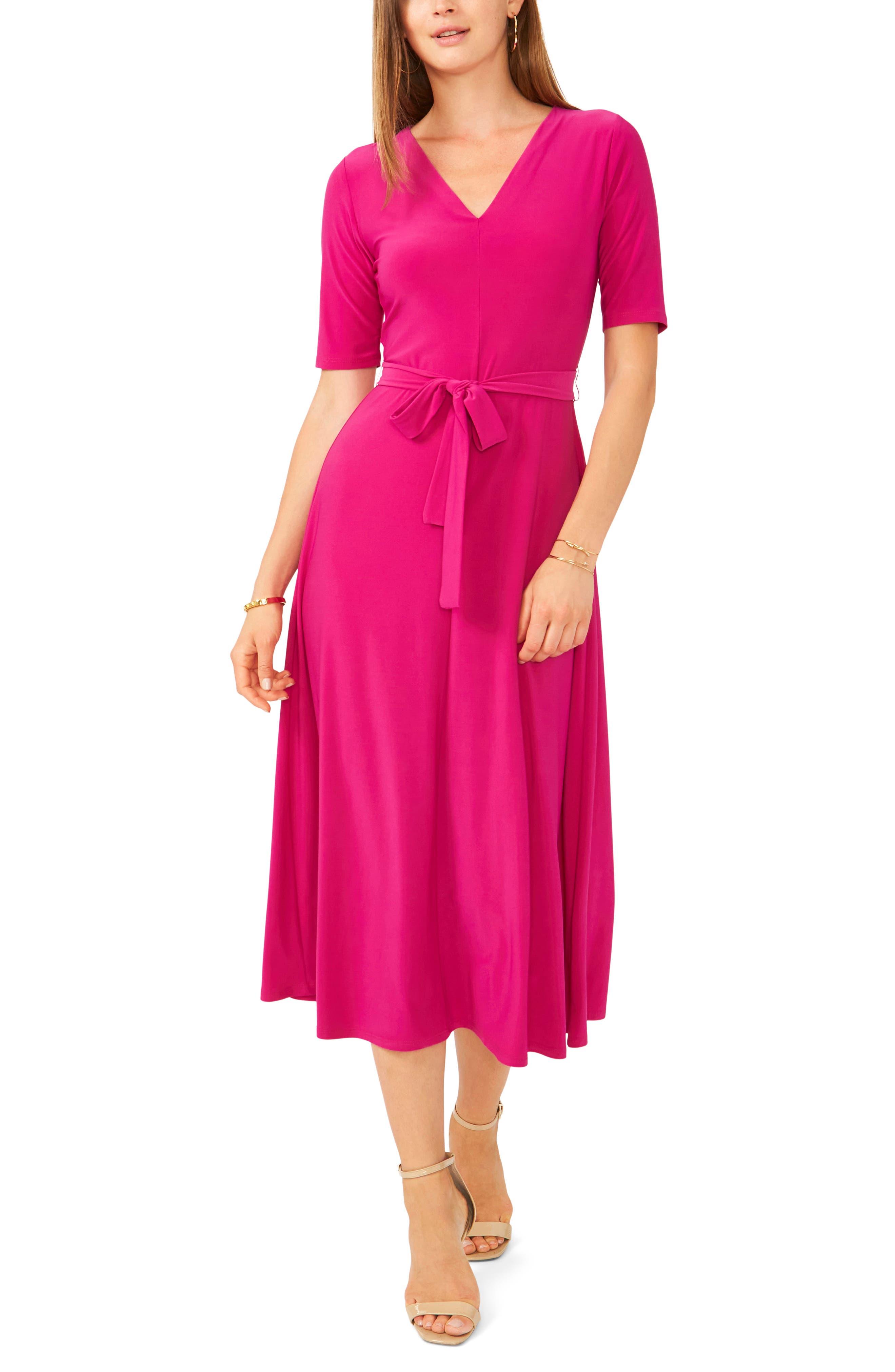 V-Neck Tie Waist Knit Dress