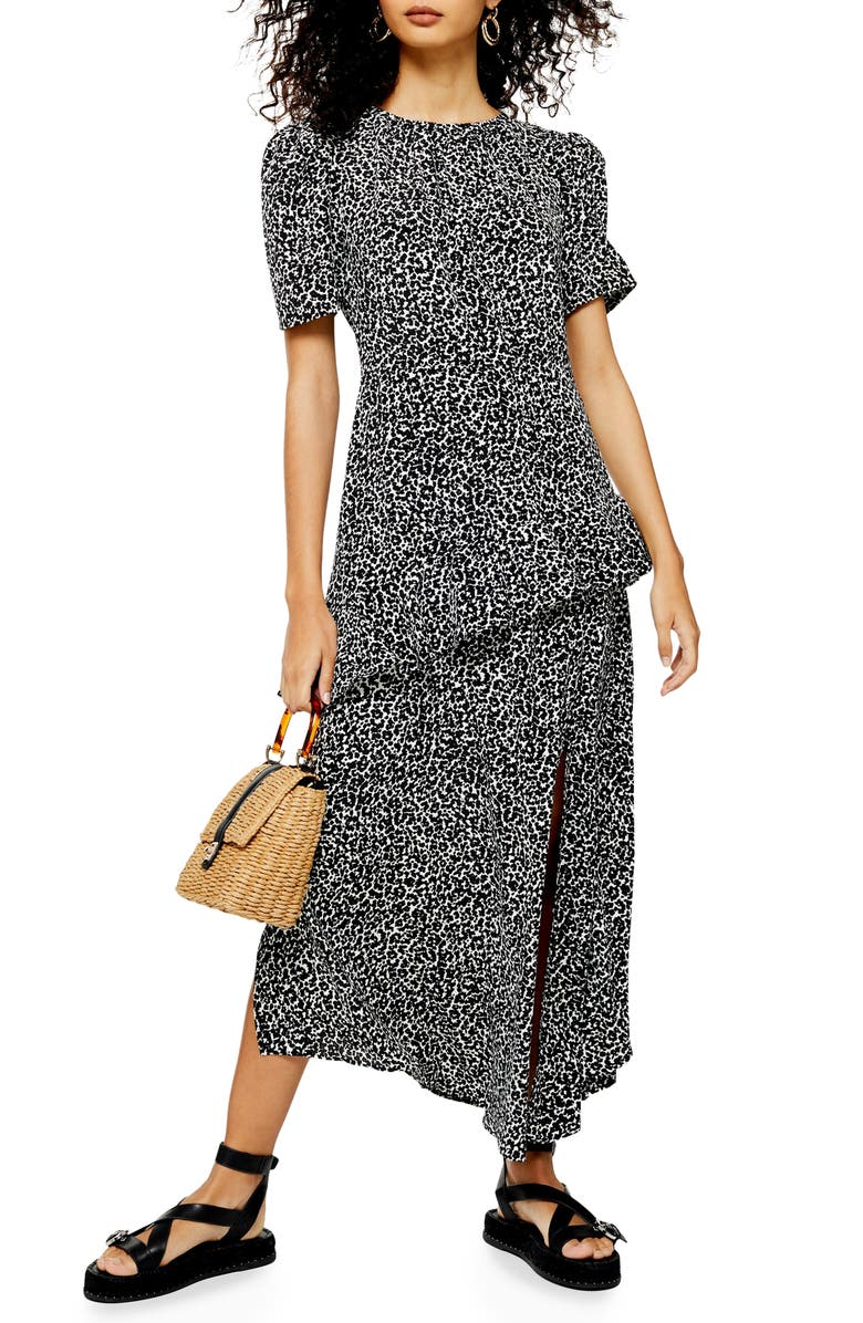 TOPSHOP Animal Print Ruffle Dress, Main, color, BLACK MULTI