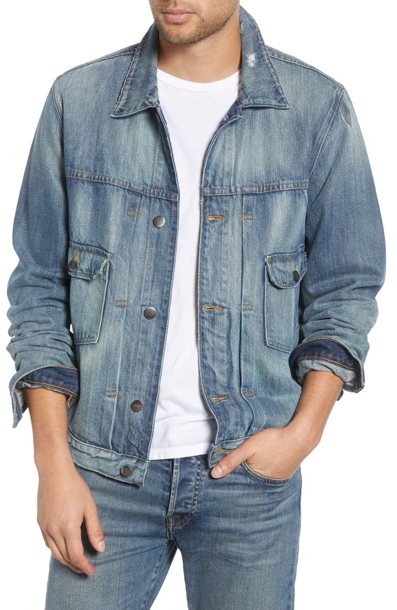 FRAME LHomme Distressed Denim Jacket, Main, color, BELVEDERE