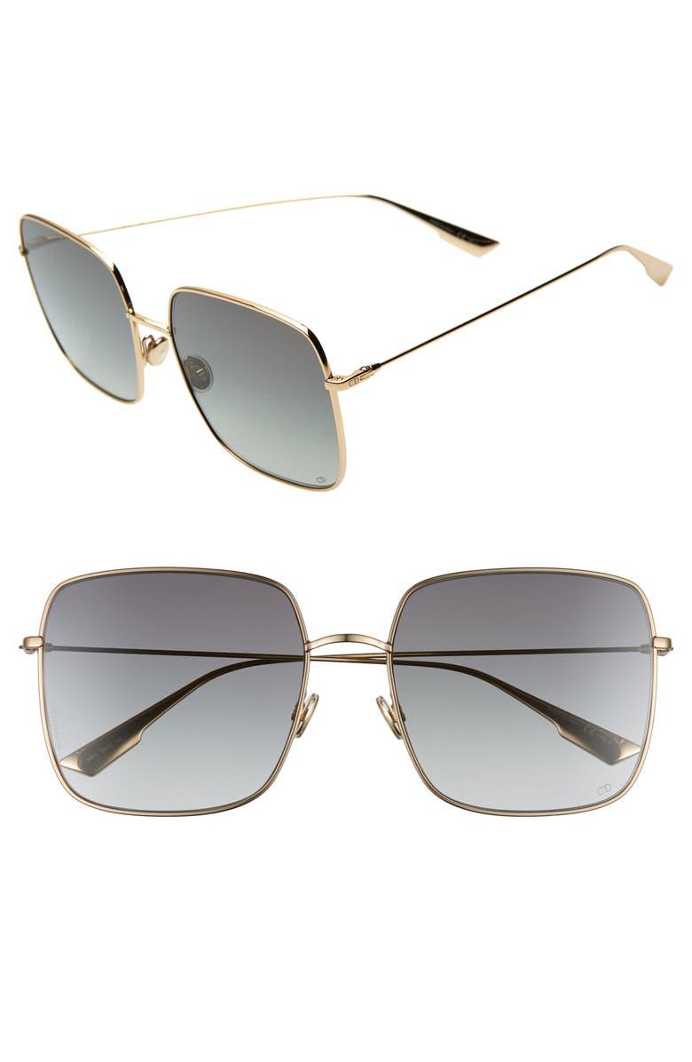 DIOR Stellaire 59mm Square Sunglasses, Main, color, ROSE GOLD