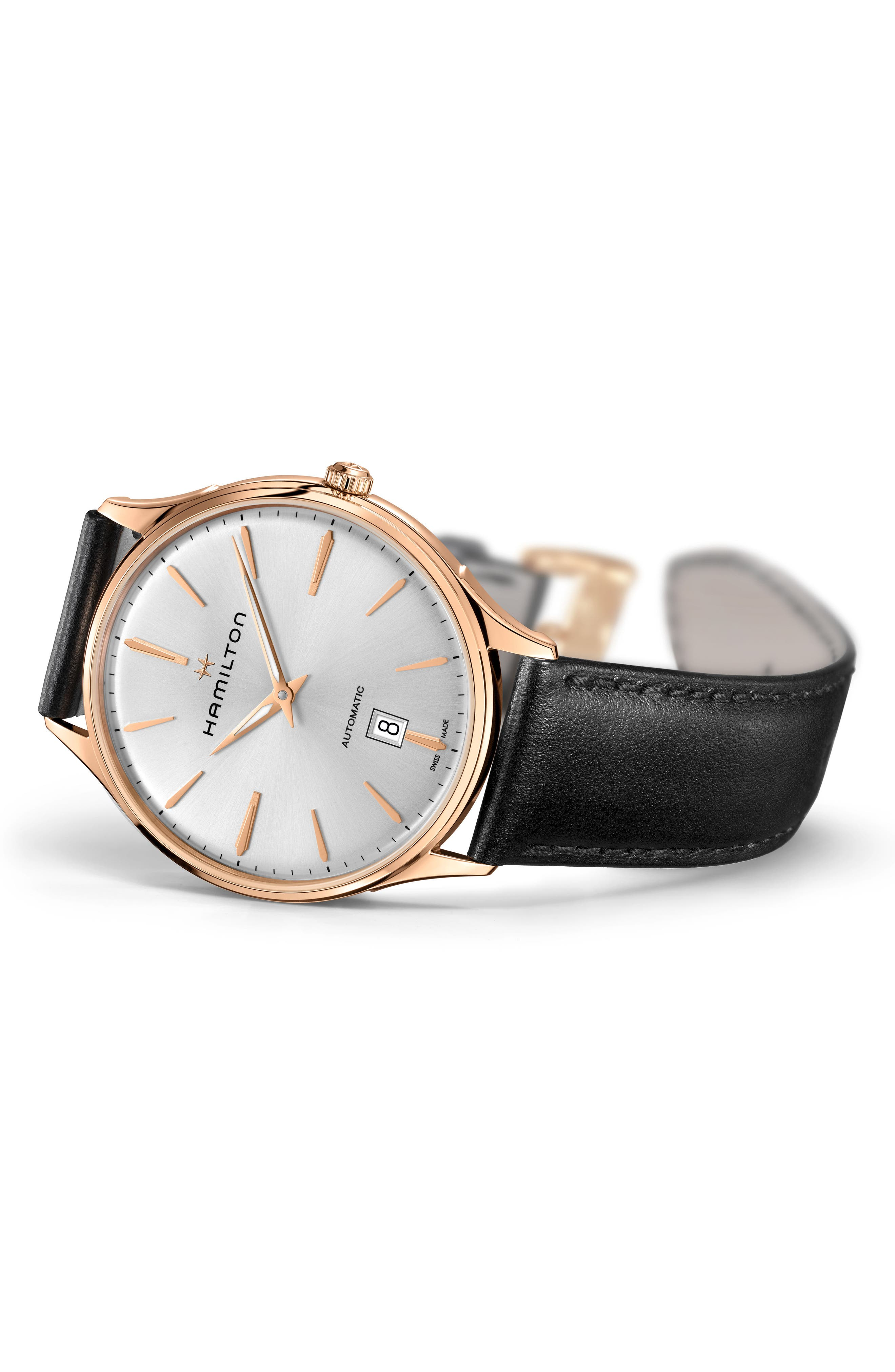 ,                             Jazzmaster Thinline 18K Gold Automatic Leather Strap Watch, 40mm,                             Alternate thumbnail 2, color,                             001