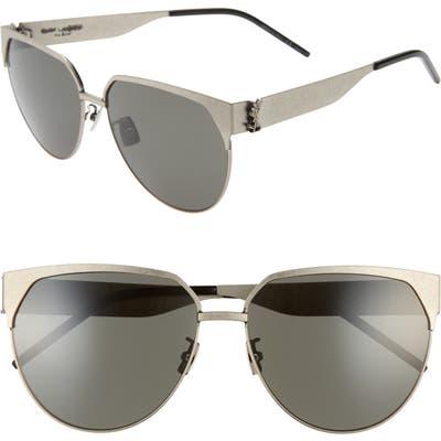 Saint Laurent 61Mm Cat Eye Sunglasses - Antique Silver
