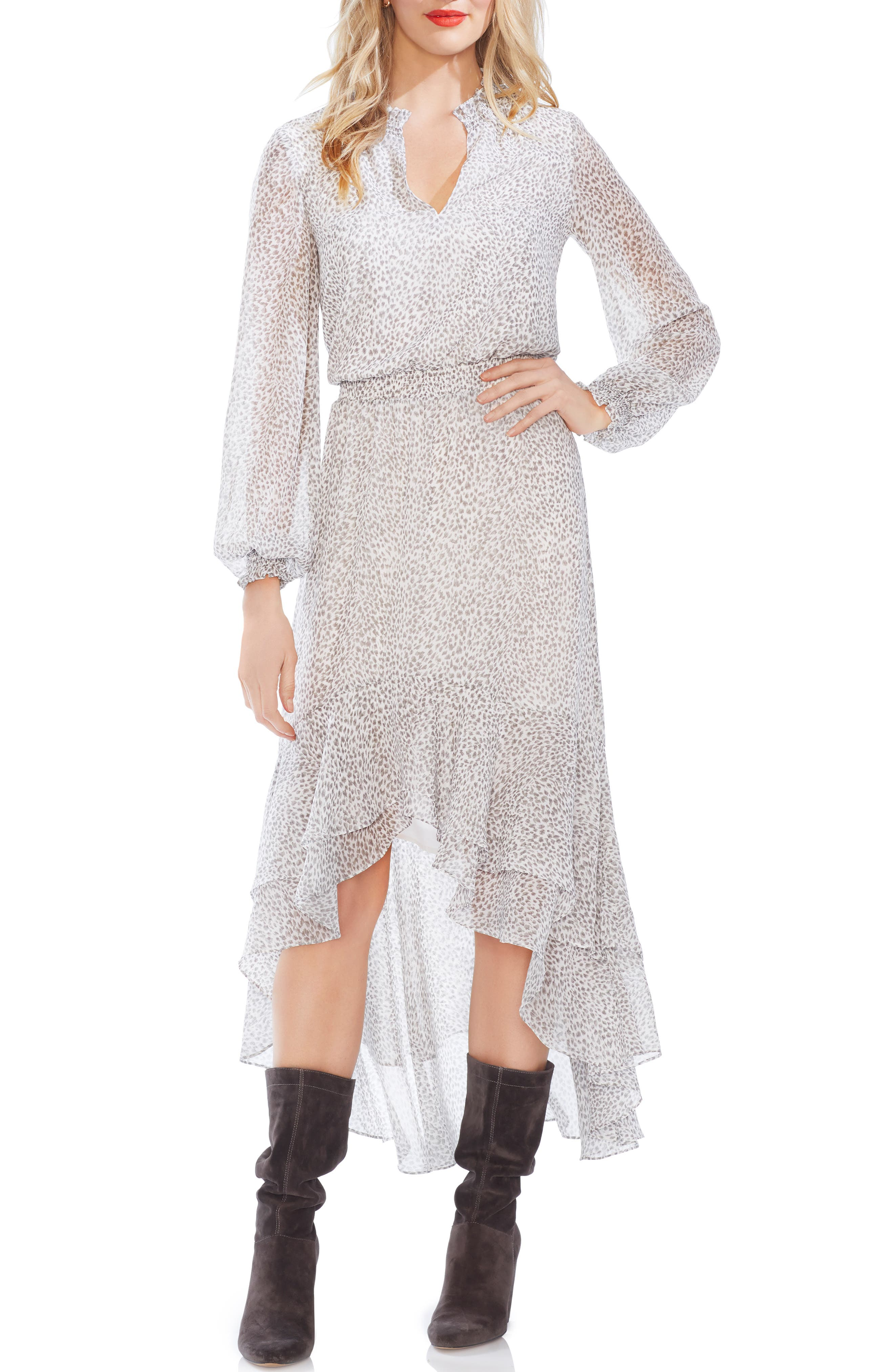 1.state Ruffle Tiered High/low Dress, White