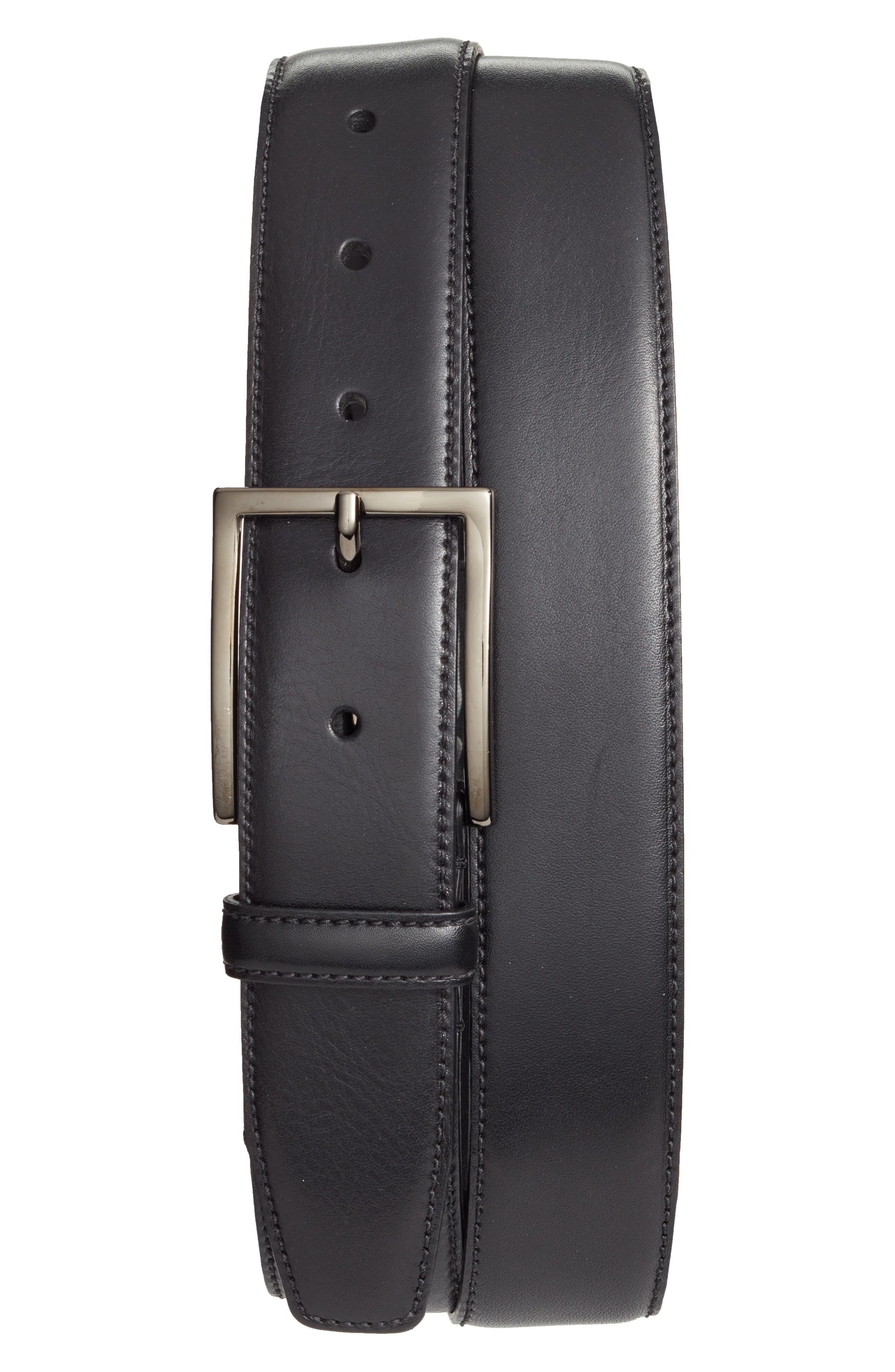 Marco Burnished Leather Belt, Main, color, BLACK