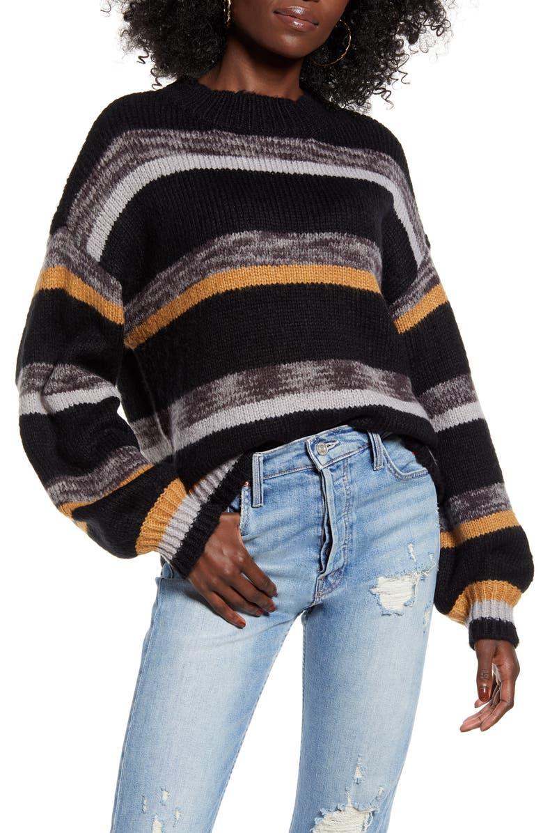 VERO MODA Ayola Stripe Crewneck Sweater, Main, color, BLACK