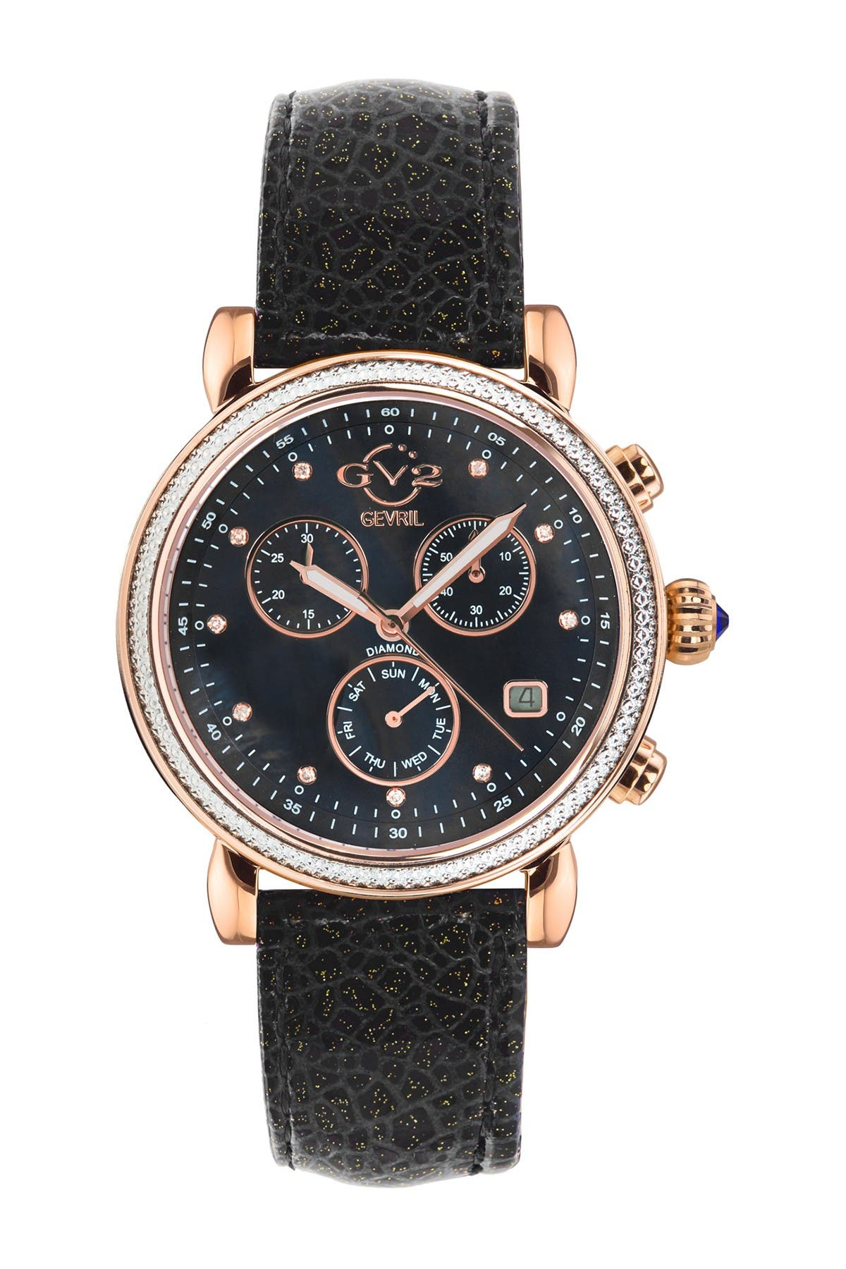 Image of Gevril Women's Marsala Sparkle Chronograph Diamond Leather Strap Watch, 37mm - 0.0044 ctw