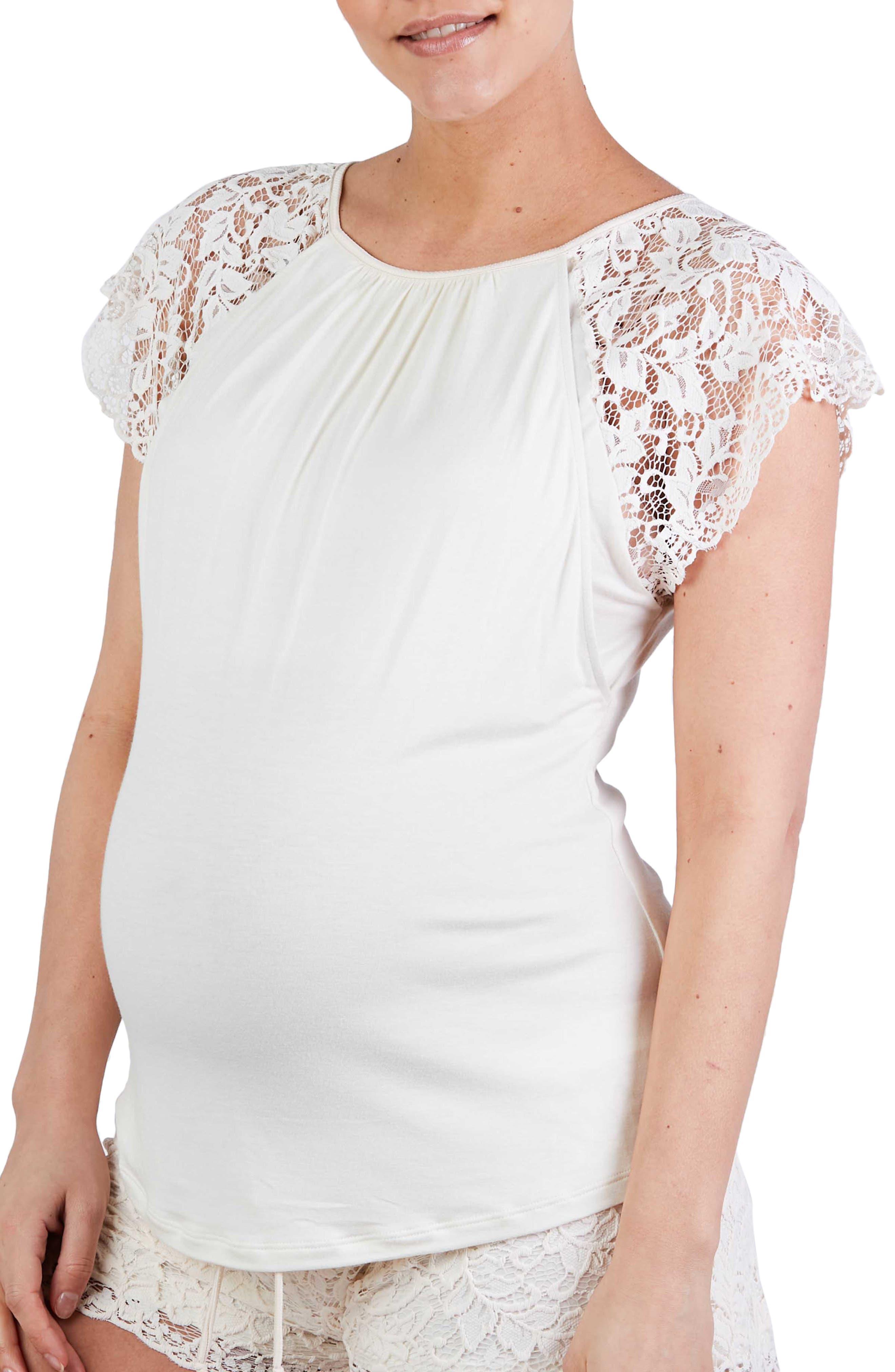 Sofia Lace Sleeve Maternity/nursing Pajama Top