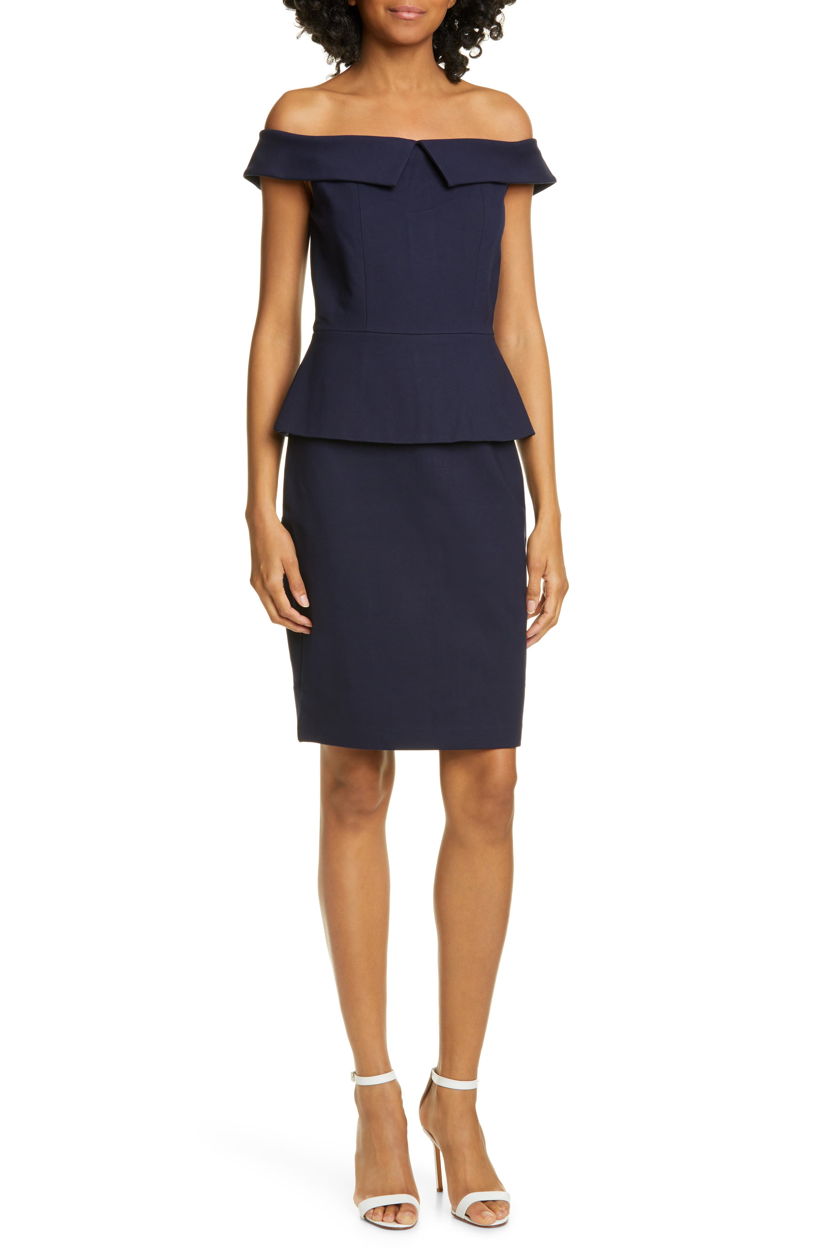 Ted Baker London Bardot Off The Shoulder Peplum Waist Dress, Blue