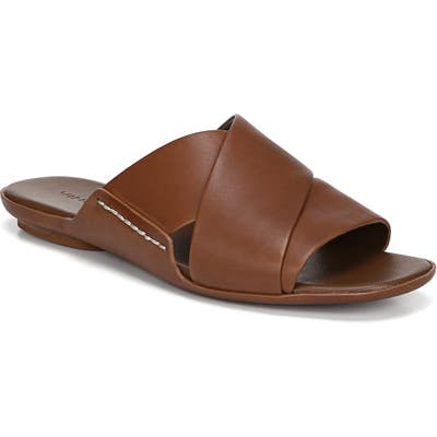 Vince Tamara Cross Strap Slide Sandal- Brown