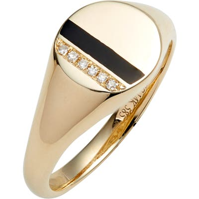 Ef Collection Diamond & Enamel Stripe Signet Ring