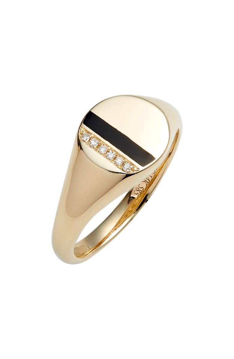 EF COLLECTION Diamond & Enamel Stripe Signet Ring, Main, color, YELLOW GOLD/ BLACK