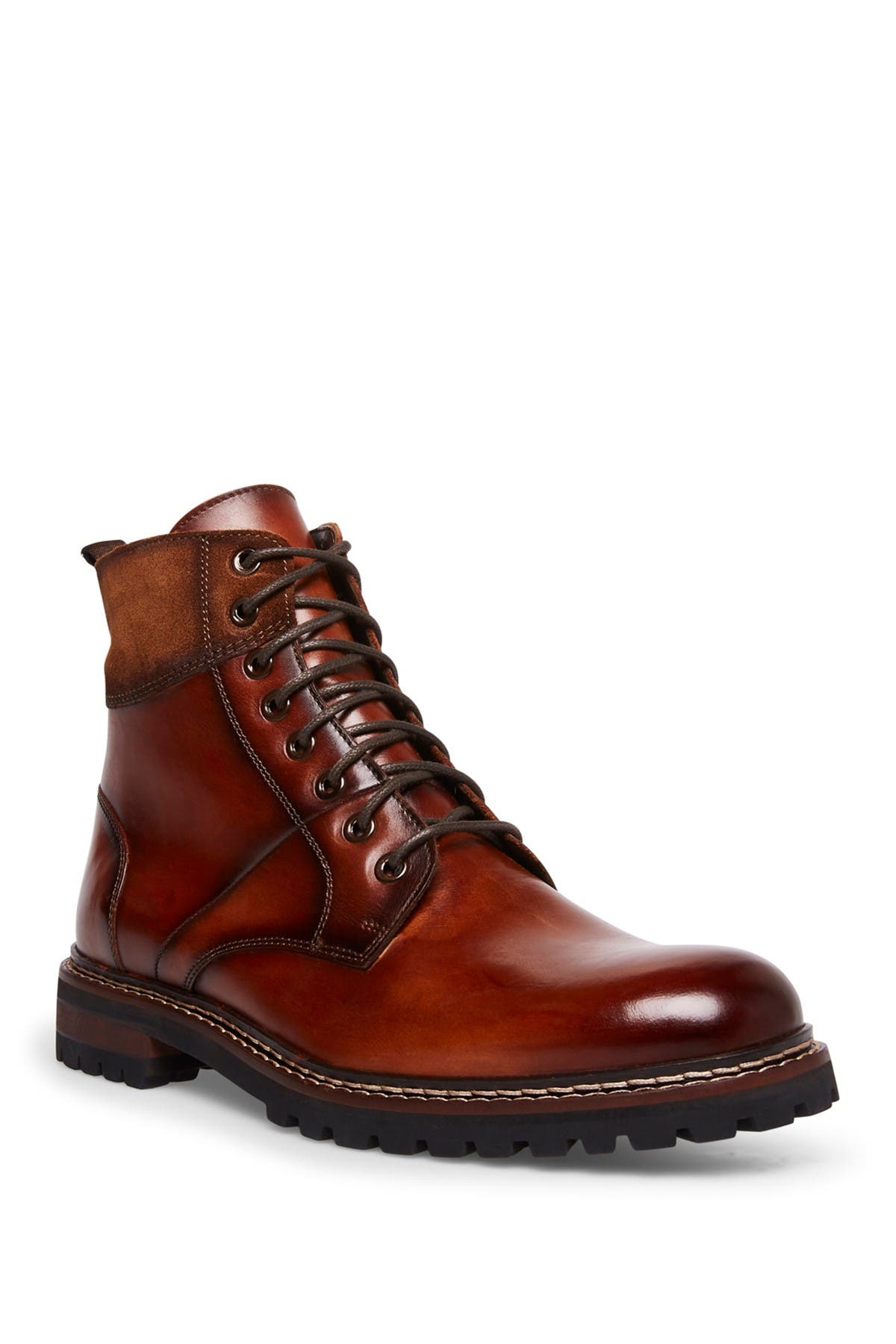 Image of Steve Madden Stratus Leather Lace-Up Lug Sole Boot