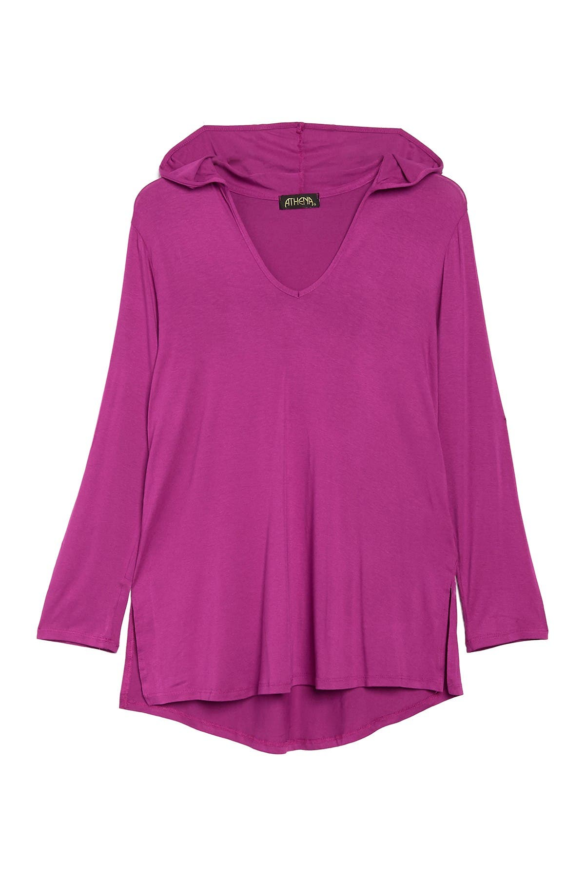 Image of Athena Solid Hooded Cover-Up Tunic