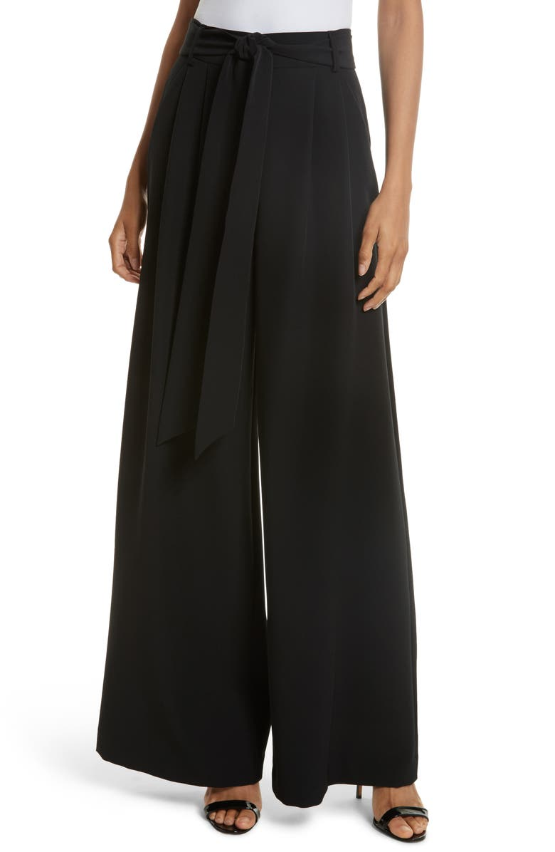 MILLY Natalie Wide Leg Italian Cady Pants, Main, color, 001