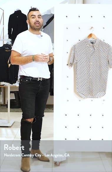Slim Fit Geo Print Short Sleeve Button-Down Shirt, sales video thumbnail