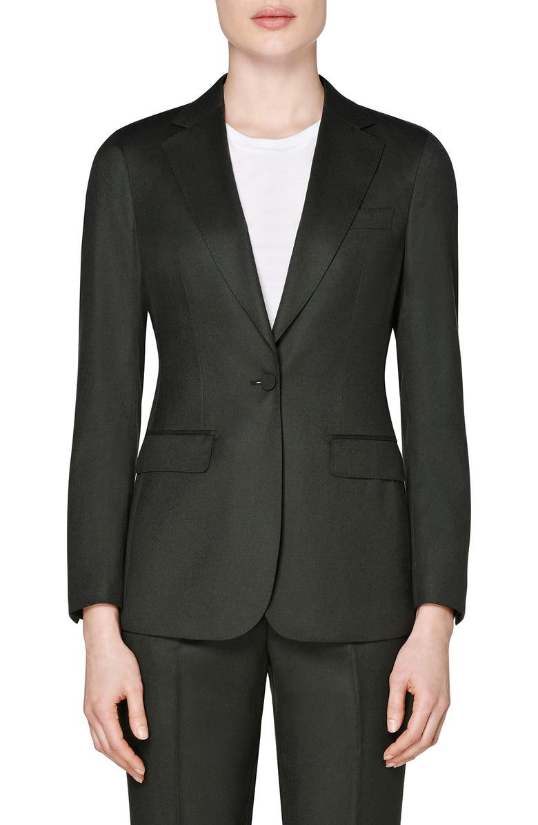 SUISTUDIO Cameron Single Breasted Wool Jacket, Main, color, DARK GREEN