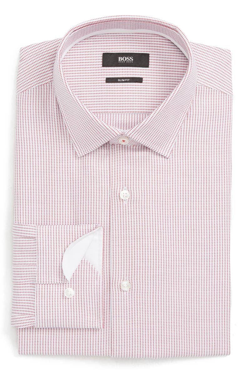 BOSS Jesse Slim Fit Print Dress Shirt, Main, color, DARK PINK