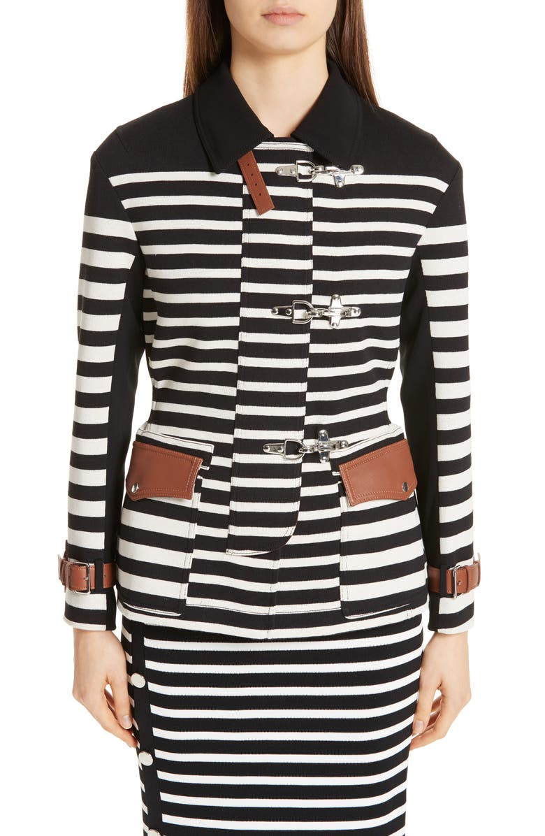 ALTUZARRA Leather Detail Stripe Jacket, Main, color, 002