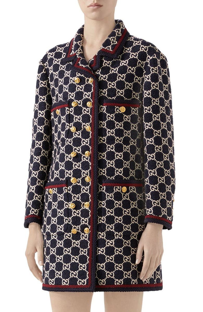 GUCCI Macro GG Tweed Knit Double Breasted Coat, Main, color, BLUE/ MIX