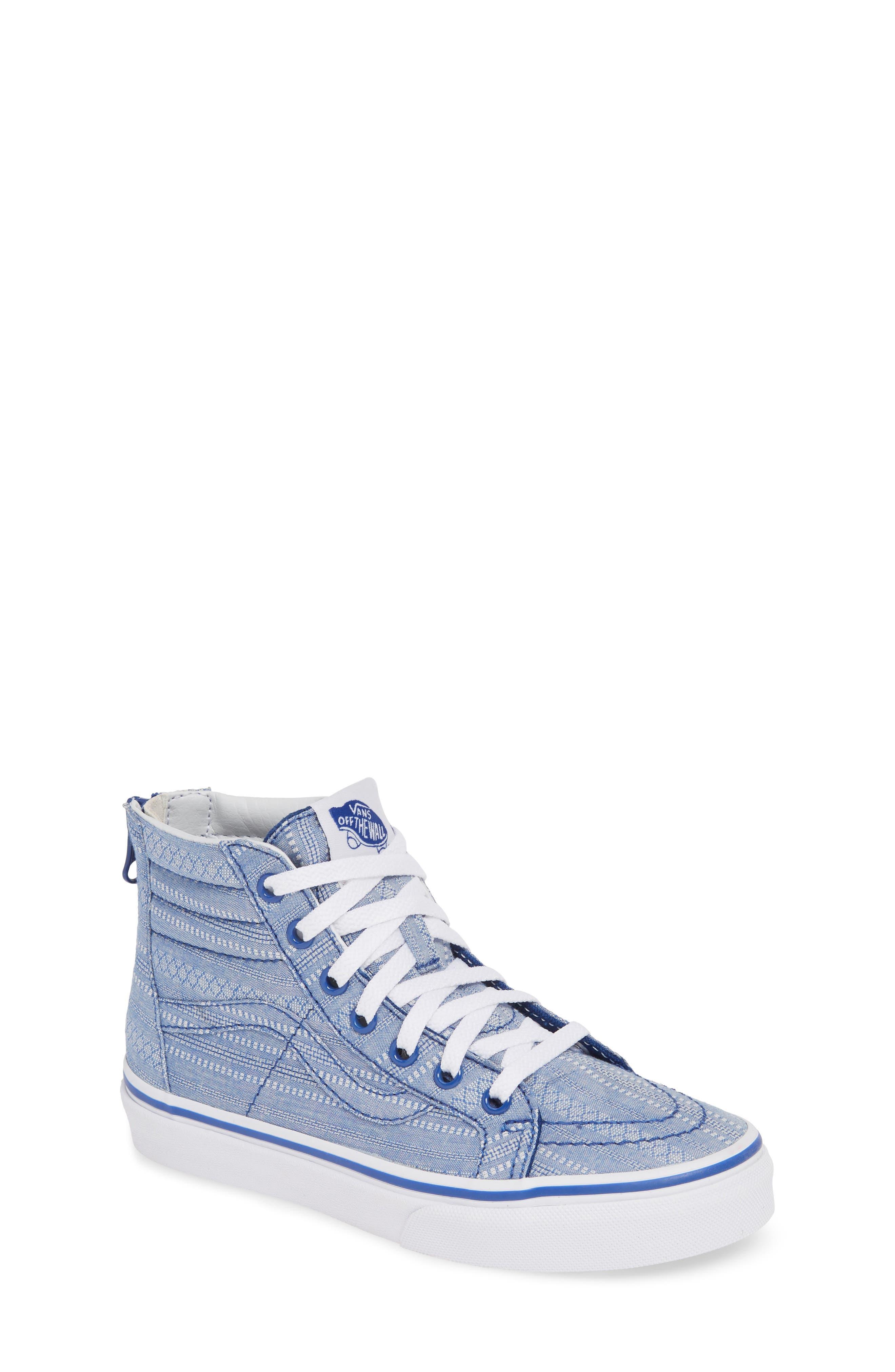 Sk8-Hi Zip Sneaker, Main, color, TRUE BLUE/ TRUE WHITE