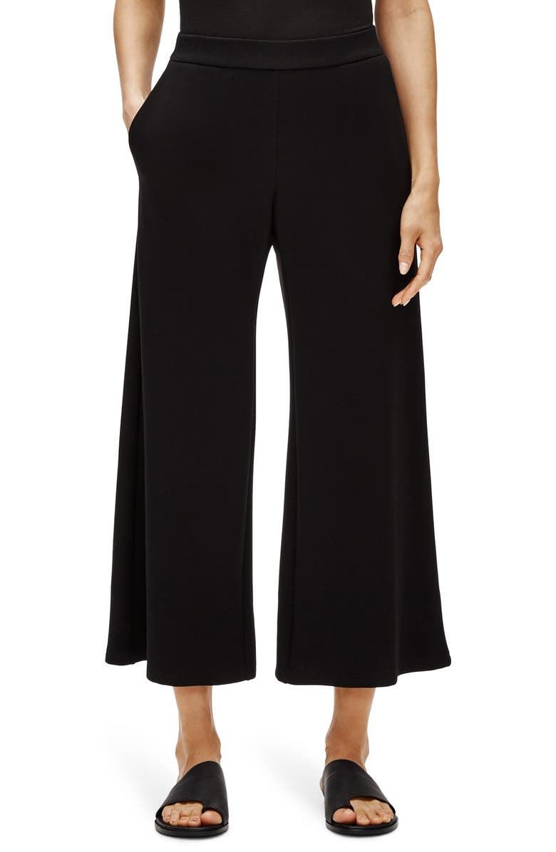 EILEEN FISHER Crop Wide Leg Pants, Main, color, 001
