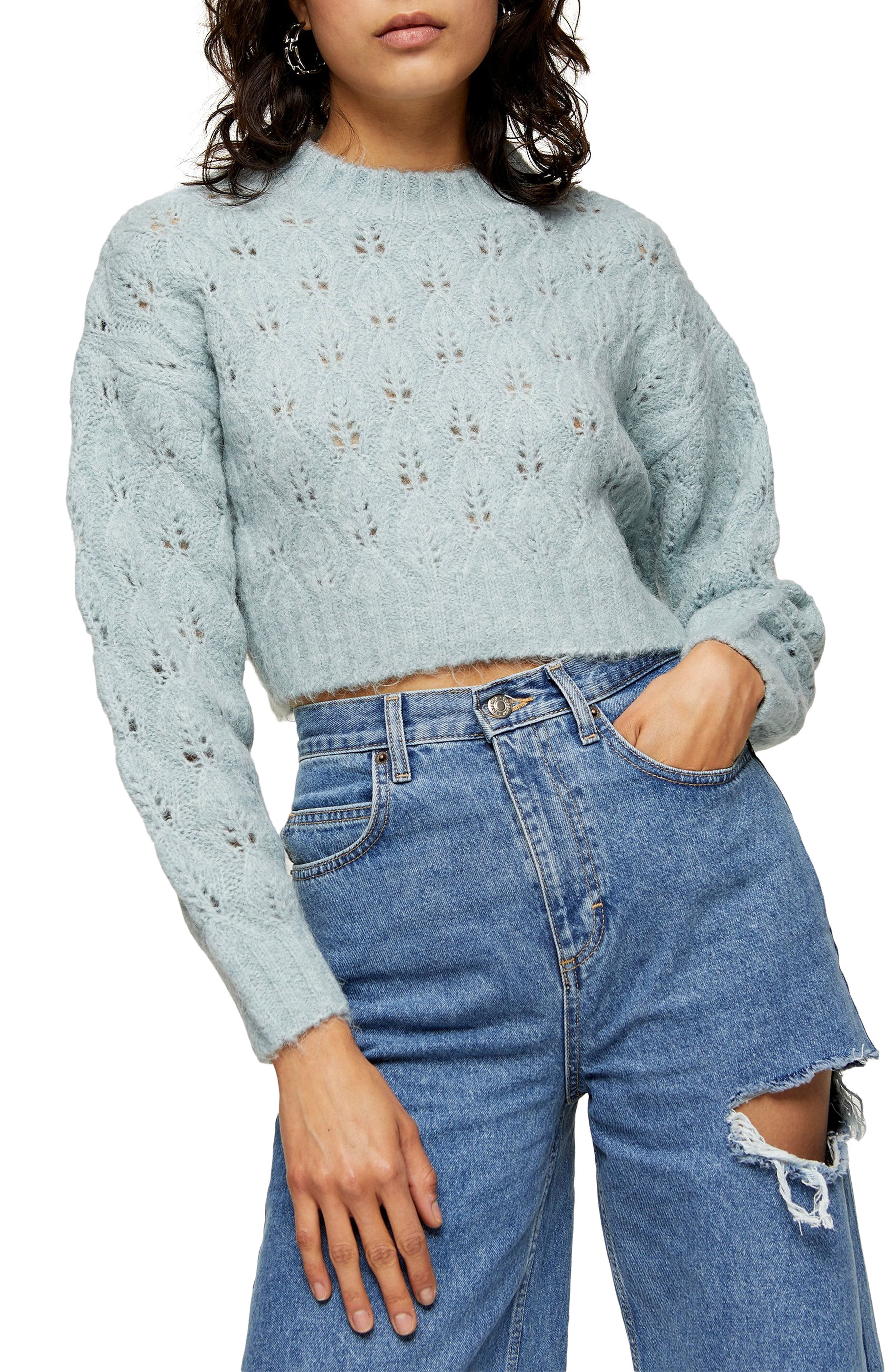 80s Sweatshirts and Sweaters Womens Topshop Crop Pointelle Sweater $43.50 AT vintagedancer.com