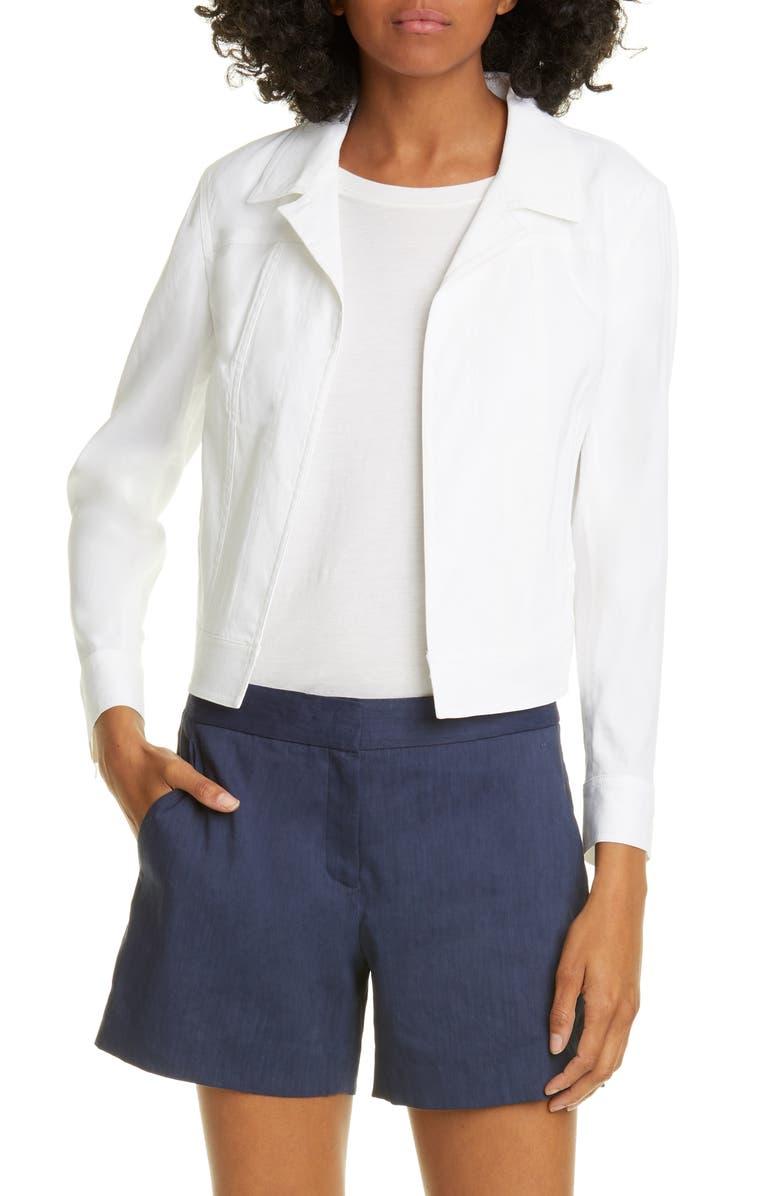Shrunken White Linen Blend Trucker Jacket by Theory
