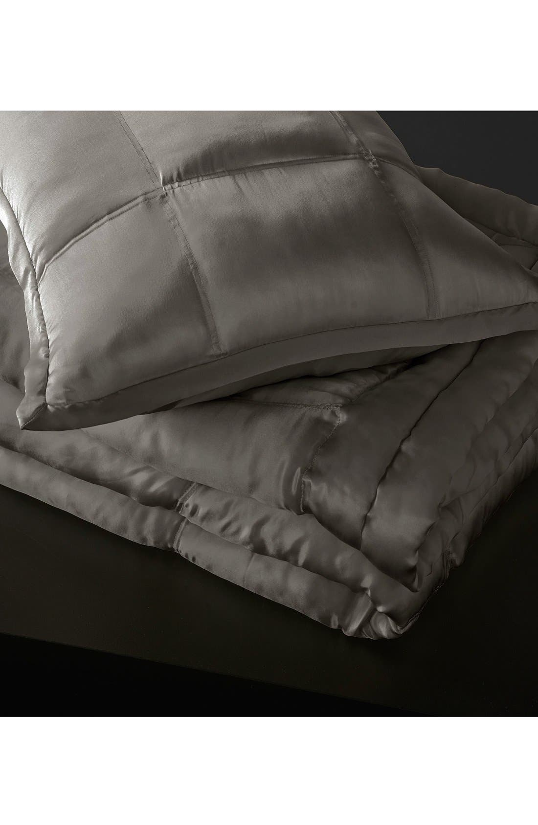 Donna Karan Collection 'Surface' Silk Charmeuse Quilt, Main, color, CHARCOAL
