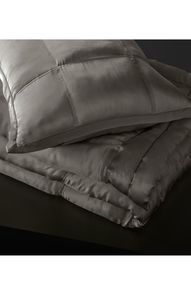 DONNA KARAN NEW YORK Donna Karan Collection 'Surface' Silk Charmeuse Quilt, Main, color, CHARCOAL