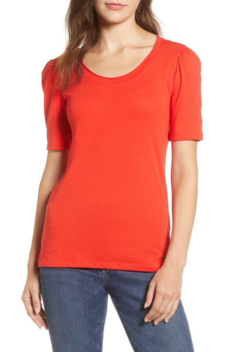 CASLON<SUP>®</SUP> Melinda Puff Sleeve Tee, Main, color, RED SCARLET