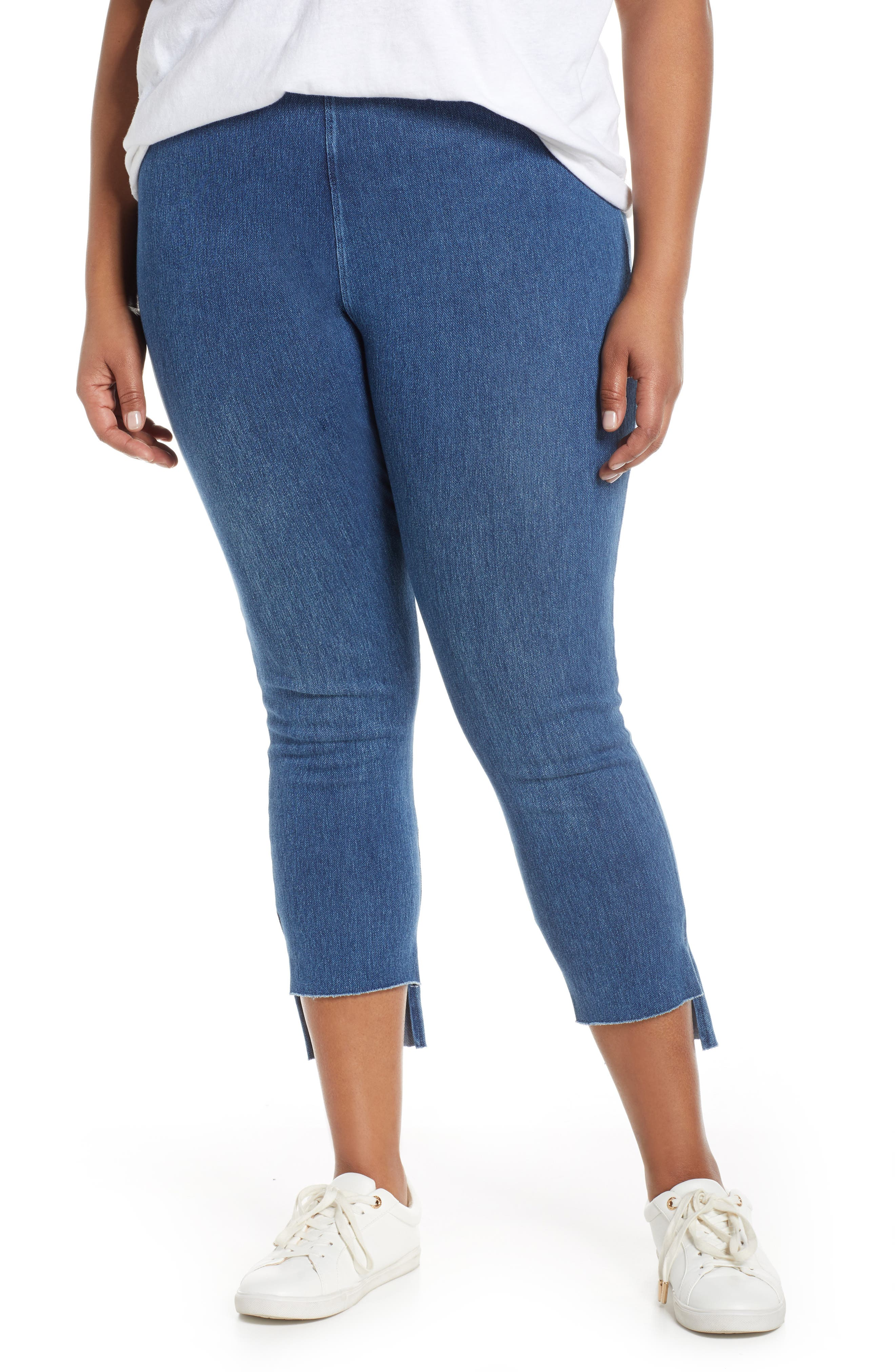 Plus Size Lysse Stagger High Waist Raw Step Hem Denim Leggings, Blue