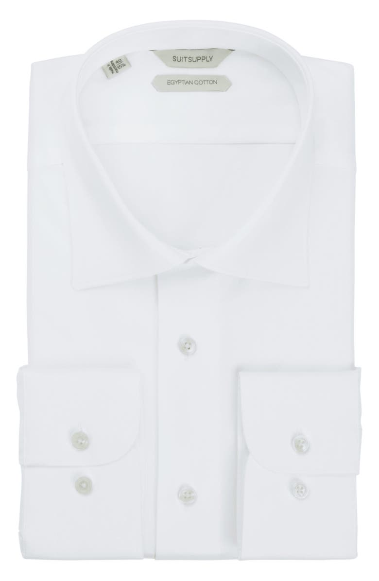 SUITSUPPLY Traditional Slim Fit White Button-Up Dress Shirt, Main, color, WHITE