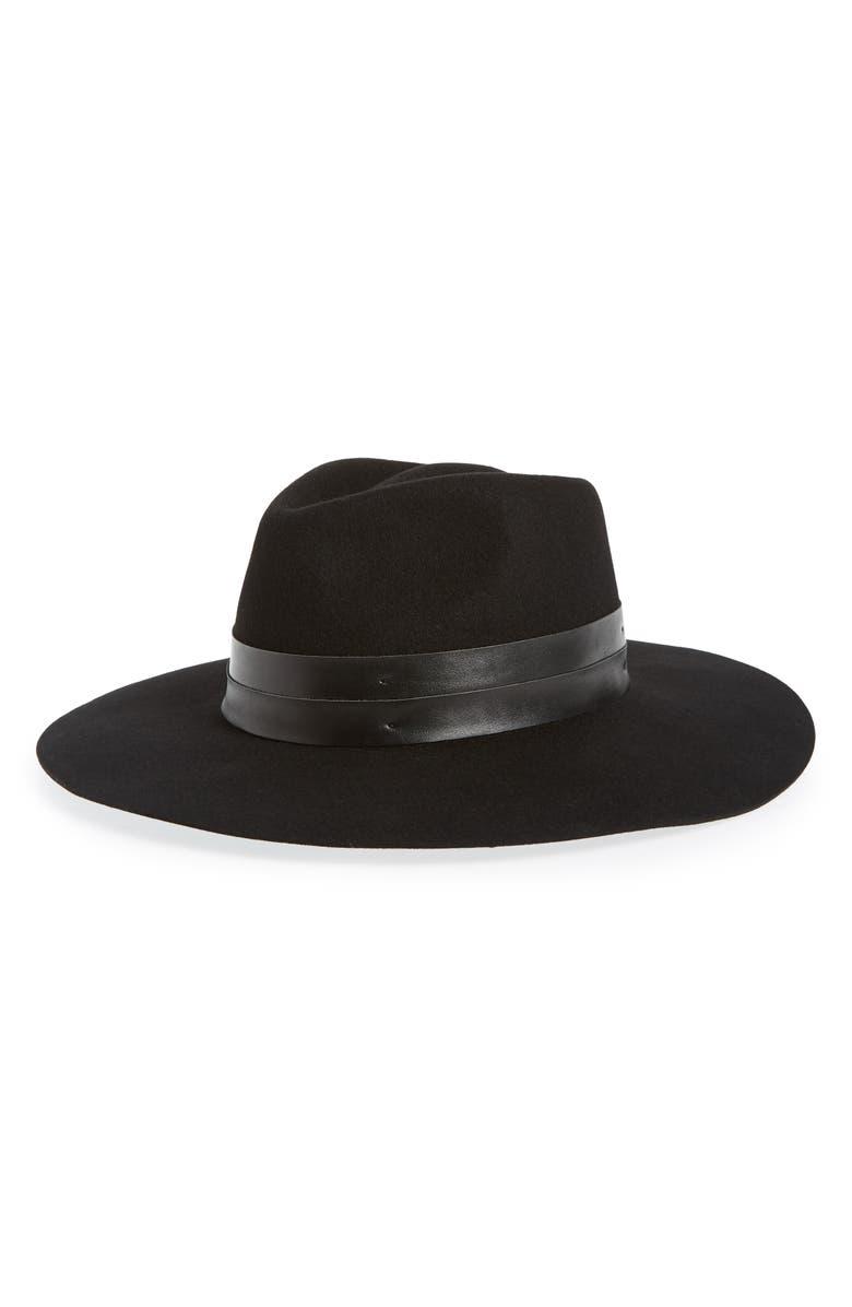 SOLE SOCIETY Wide Brim Hat, Main, color, BLACK