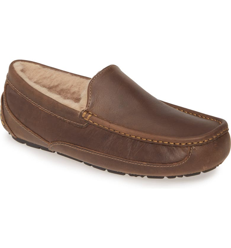 UGG<SUP>®</SUP> Ascot Leather Slipper, Main, color, TAN