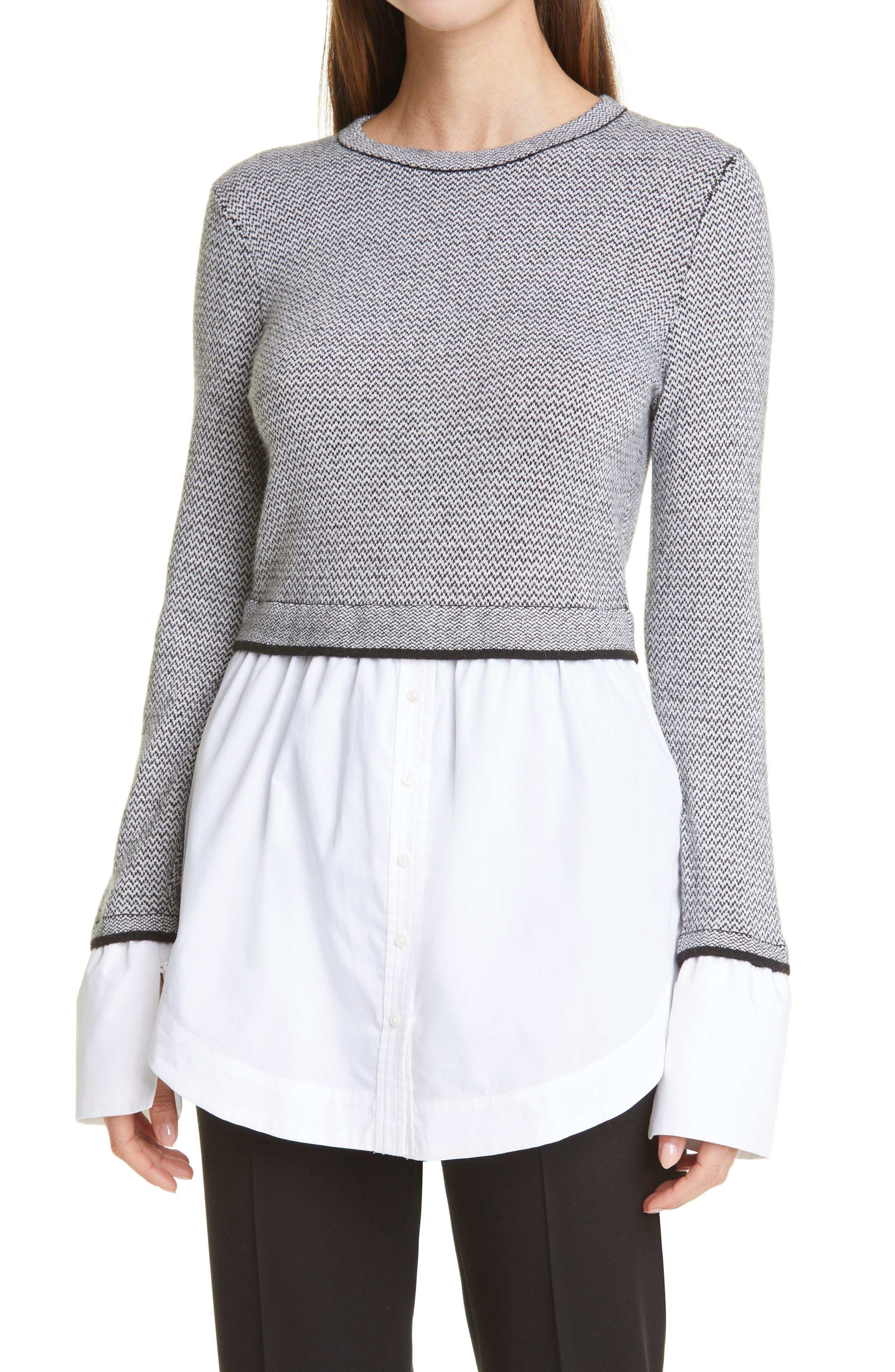 Club Monaco Berdine Layered Look Sweater with Button-Up Hem | Nordstrom
