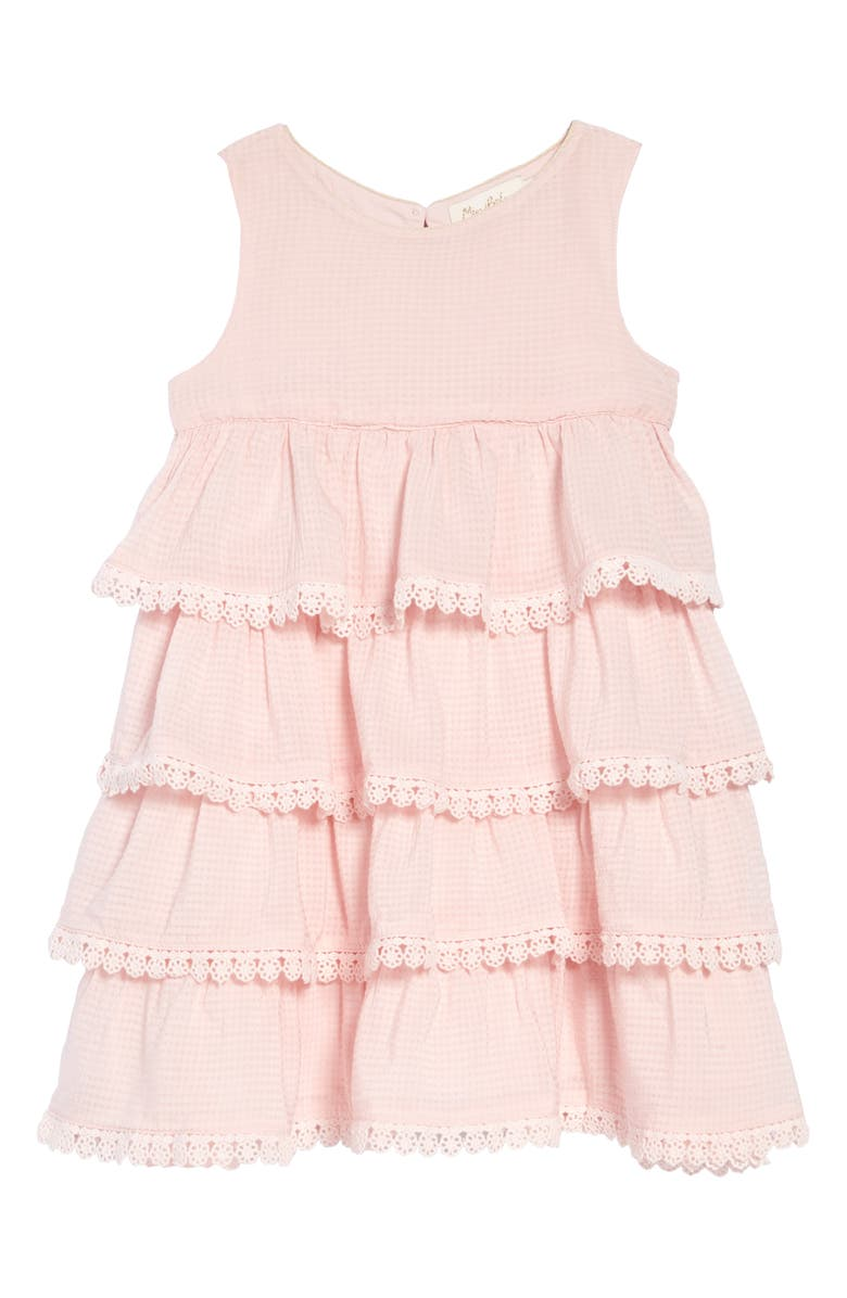 MINI BODEN Tiered Lace Trim Dress, Main, color, 684