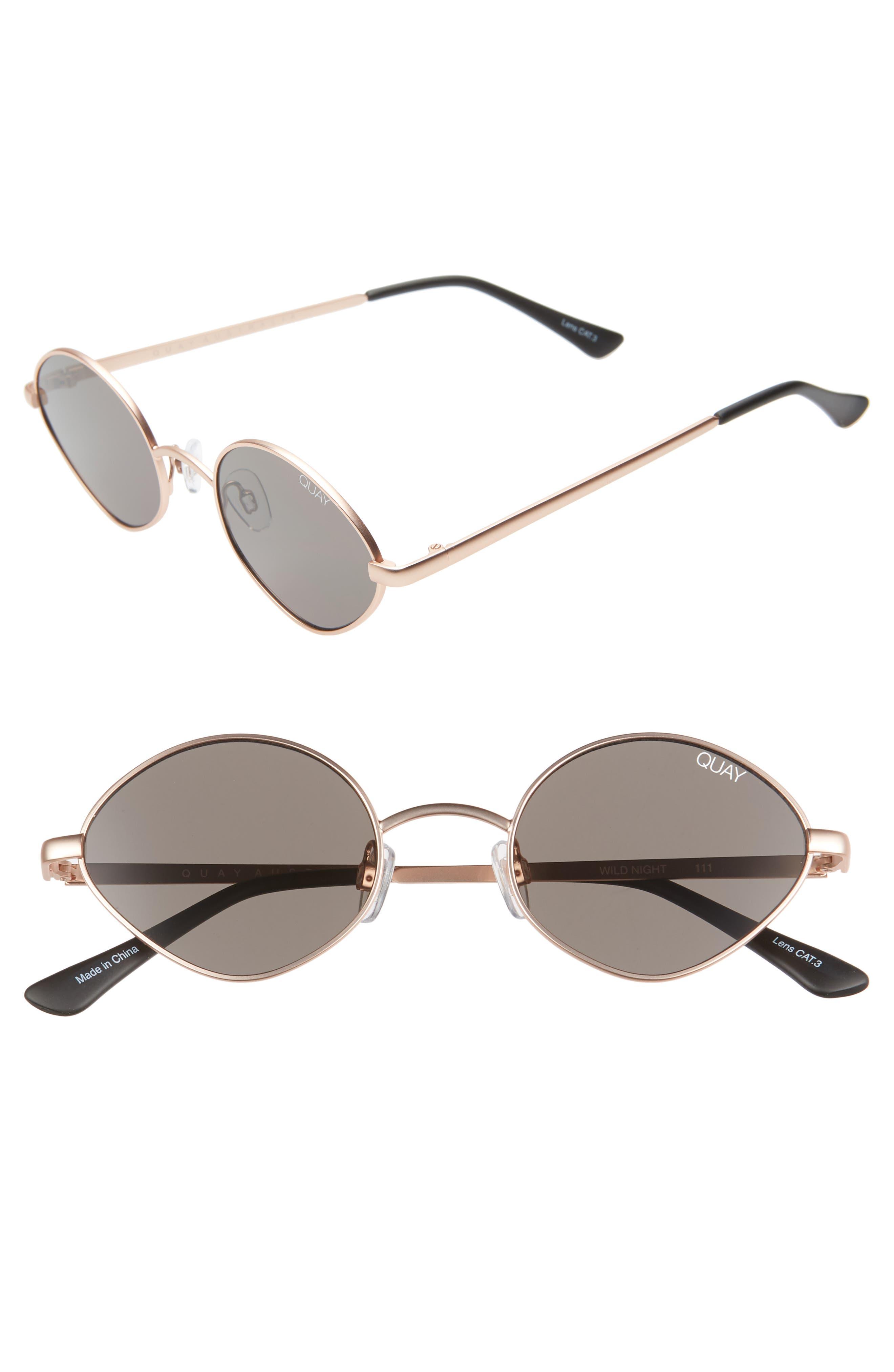 Quay Australia Wild Night 55Mm Teardrop Sunglasses - Rose Gold/ Smoke