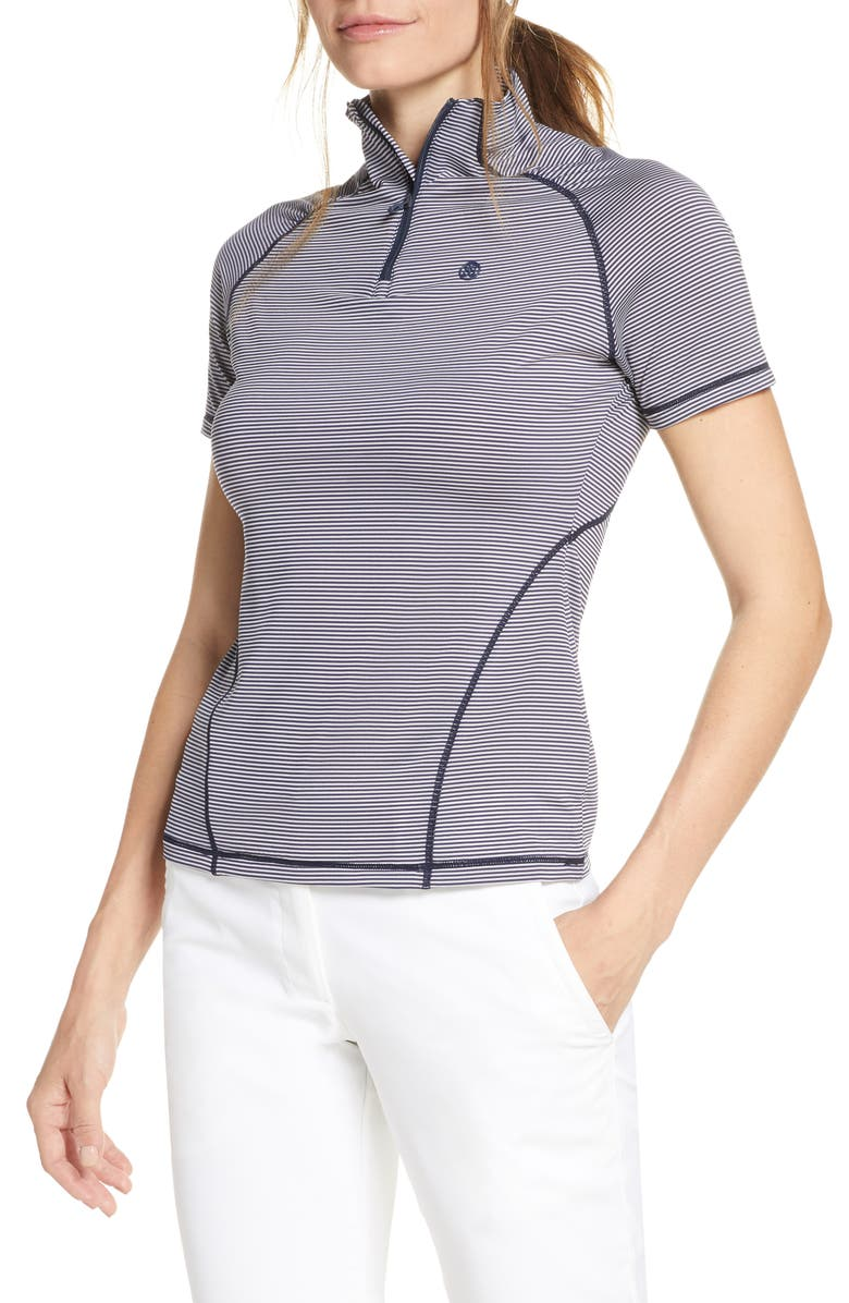 G/FORE Textured Stripe Quarter Zip Golf Top, Main, color, TWILIGHT